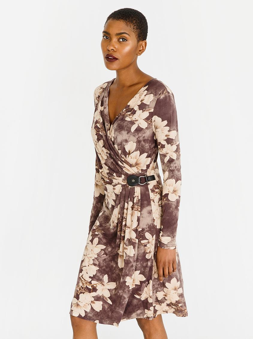 c1ce71a6ef4 Printed Wrap Dress with Buckle Detail Mid Brown G Couture Casual ...