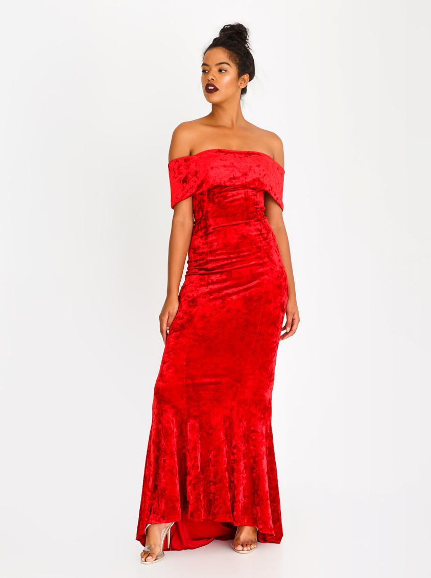 657d506e7410 Bardot Velvet Maxi Dress Red Sissy Boy Occasion