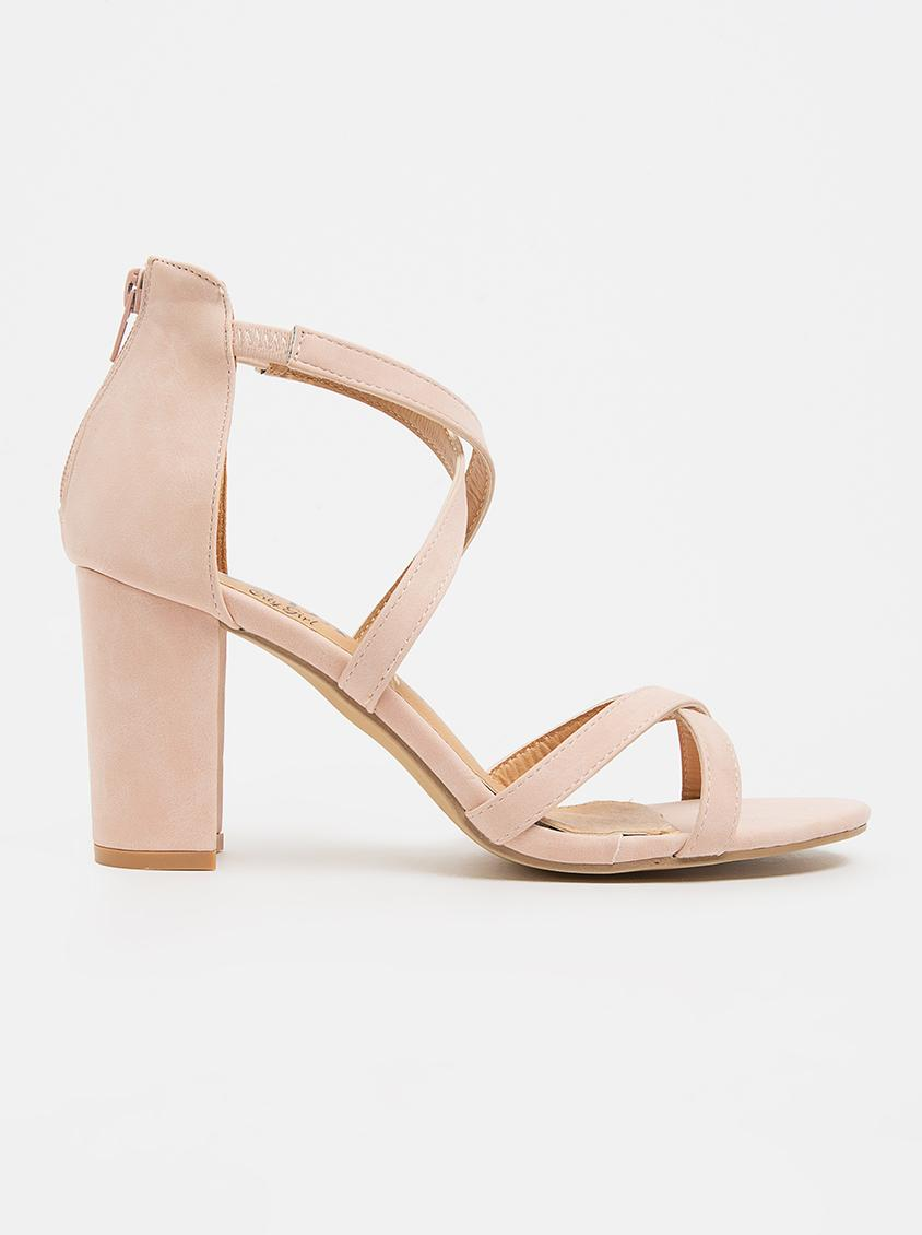 bc9040fab532 Crossover Strappy Heels Pale Pink Jada Heels