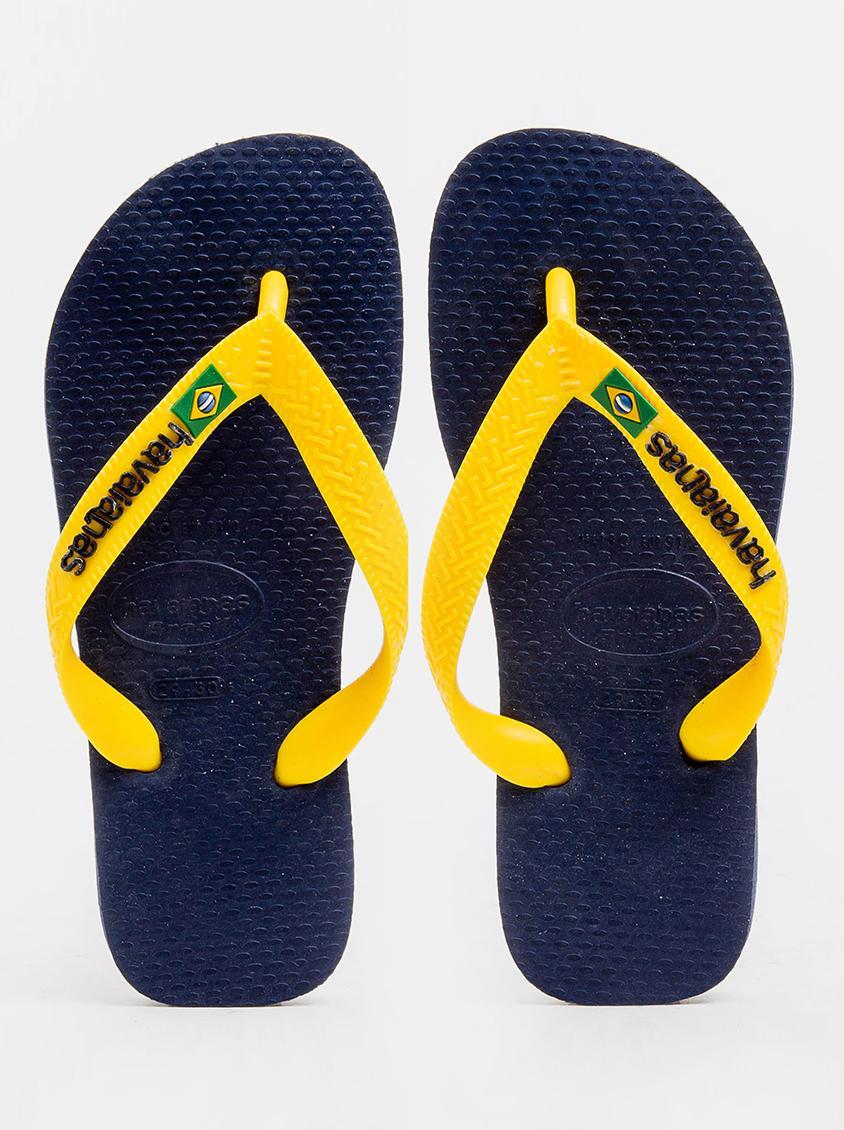 1811c0c6d Brazil logo flip flops - navy blue citrus yellow Havaianas Shoes ...