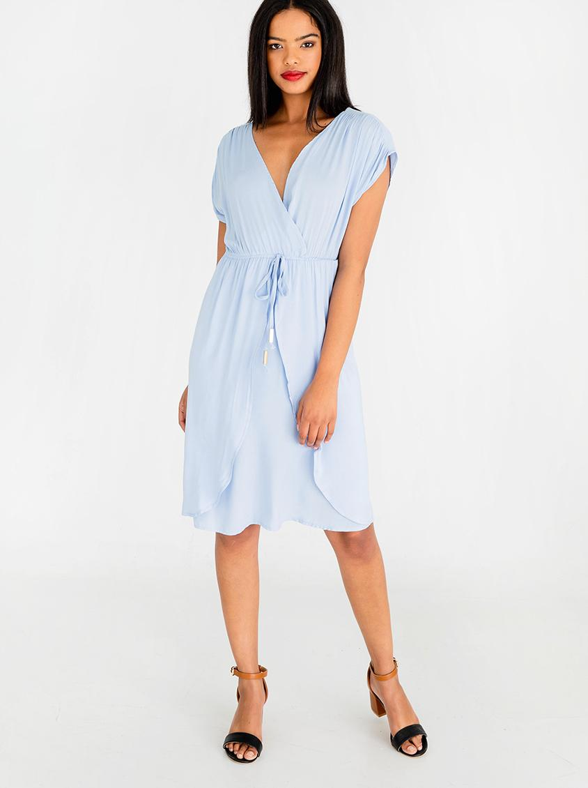 Mock wrap dress with draw cord pale blue edit casual superbalist com