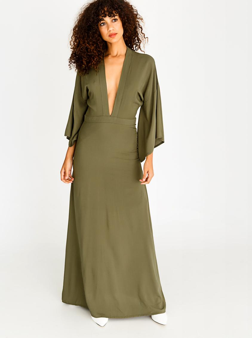 284195421514 Bell Sleeve Maxi Dress Khaki Green STYLE REPUBLIC Formal ...
