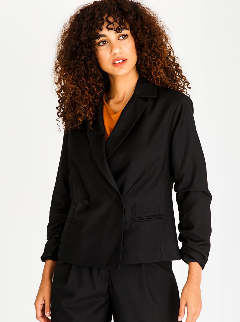 54ae8ca897b8c Ruched Sleeve Blazer Black STYLE REPUBLIC Jackets
