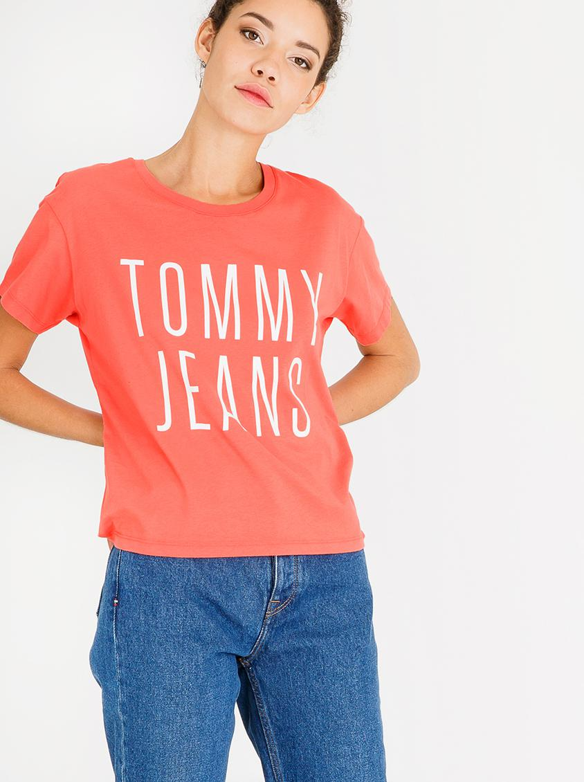 577dd8aa Cropped Logo Tee Peach Tommy Hilfiger T-Shirts, Vests & Camis |  Superbalist.com