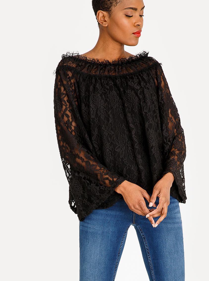 55f368ff4b5be Lace bell sleeve bardot blouse - black edit Blouses