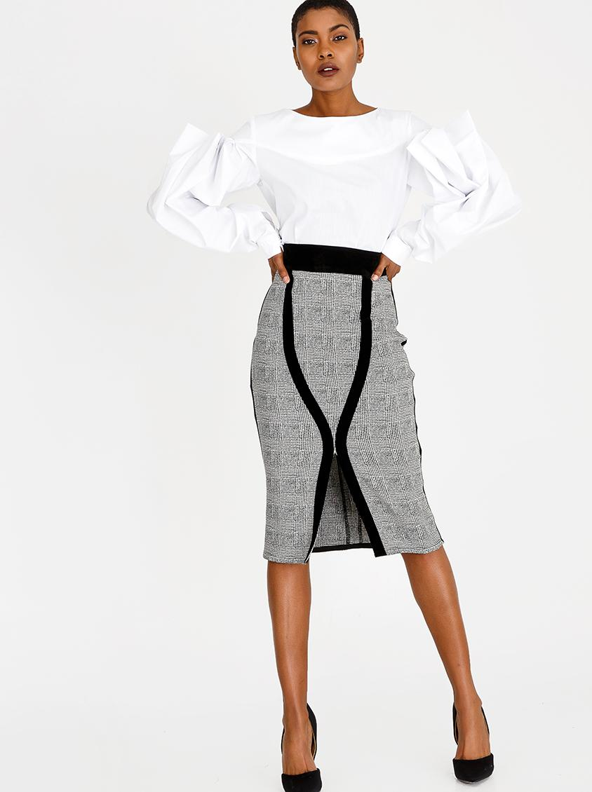f8cd96130f Checked Pencil Skirt Black and White DAVID by David Tlale Skirts |  Superbalist.com