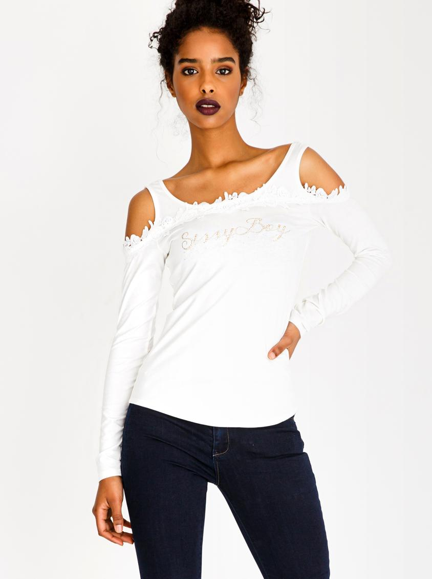 459694a26b469d Crochet Detail Cold Shoulder Top Off White Sissy Boy T-Shirts