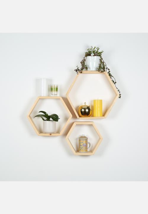 Hexagon Shelf Set Of 3 Natural B K Design And Decor Shelves
