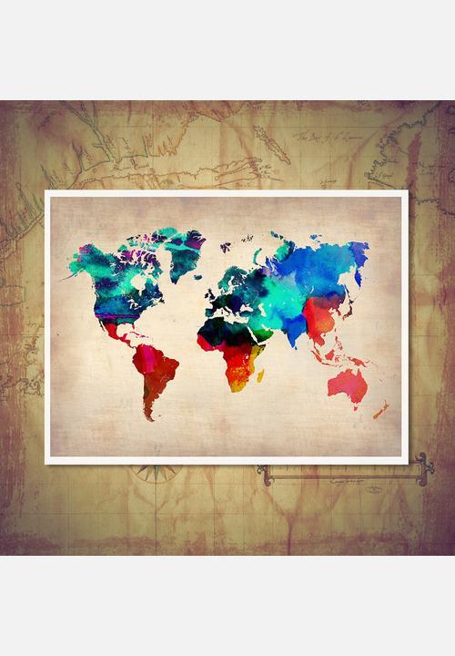 World map multi coloured print a2 atlas inspired art art atlas inspired art world map multi coloured print a2 gumiabroncs Choice Image