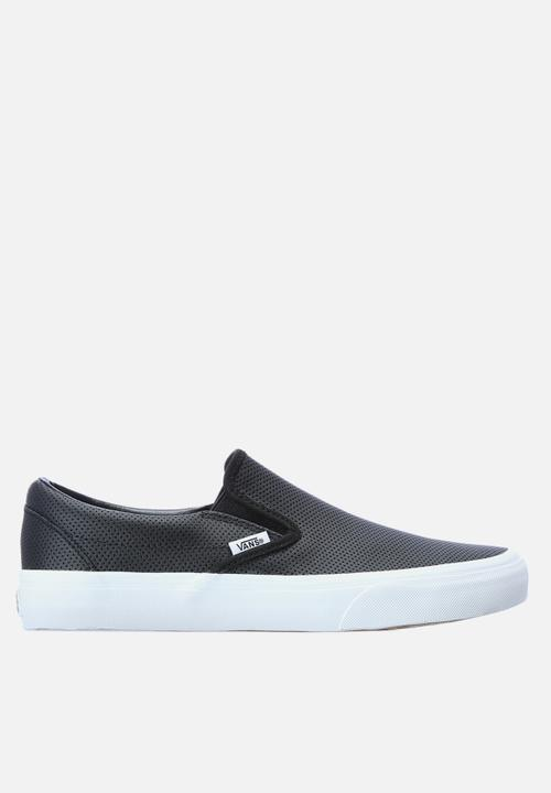 0cfe196a26 Classic Leather Slip On- Perf Black White Vans Sneakers ...