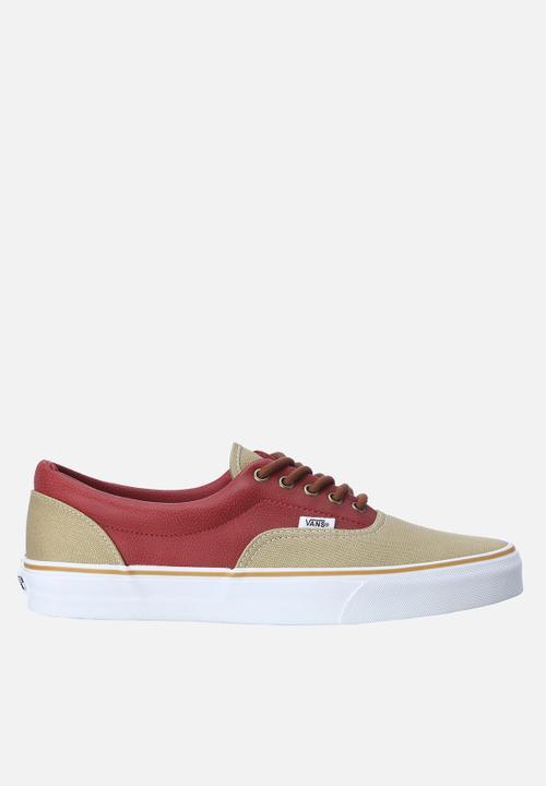 ffc96b43d5 Leather Quarter Era – Khaki   Red Vans Sneakers