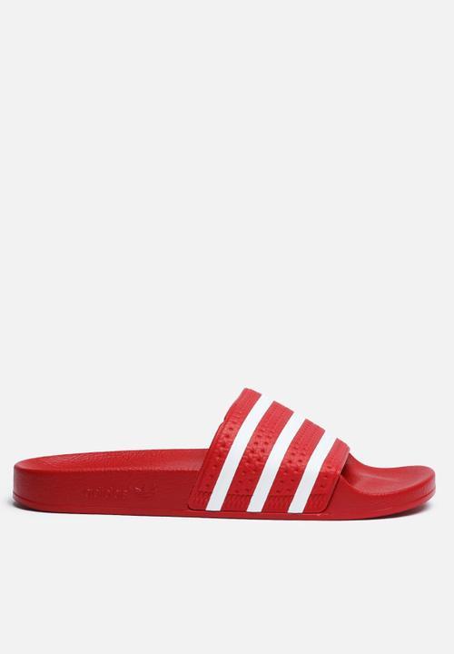 533573953831 Adilette - Red adidas Originals Sandals   Flip Flops