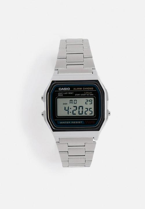Digital Alarm Chrono A158WA-1Q-silver