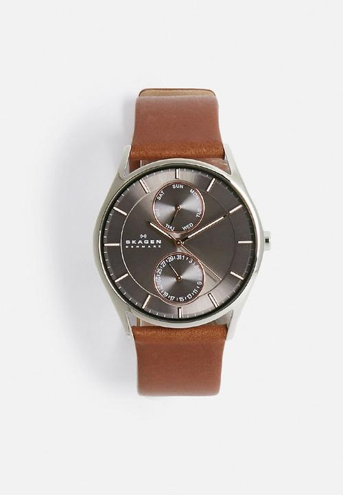 Holst Leather Watch- brown/grey