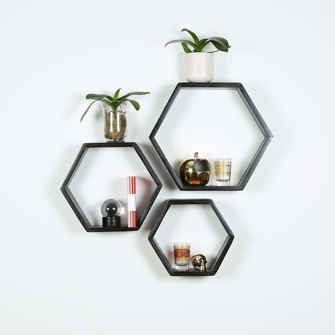 Hexagon Shelf Set Of 3 Black B Amp K Design And Decor