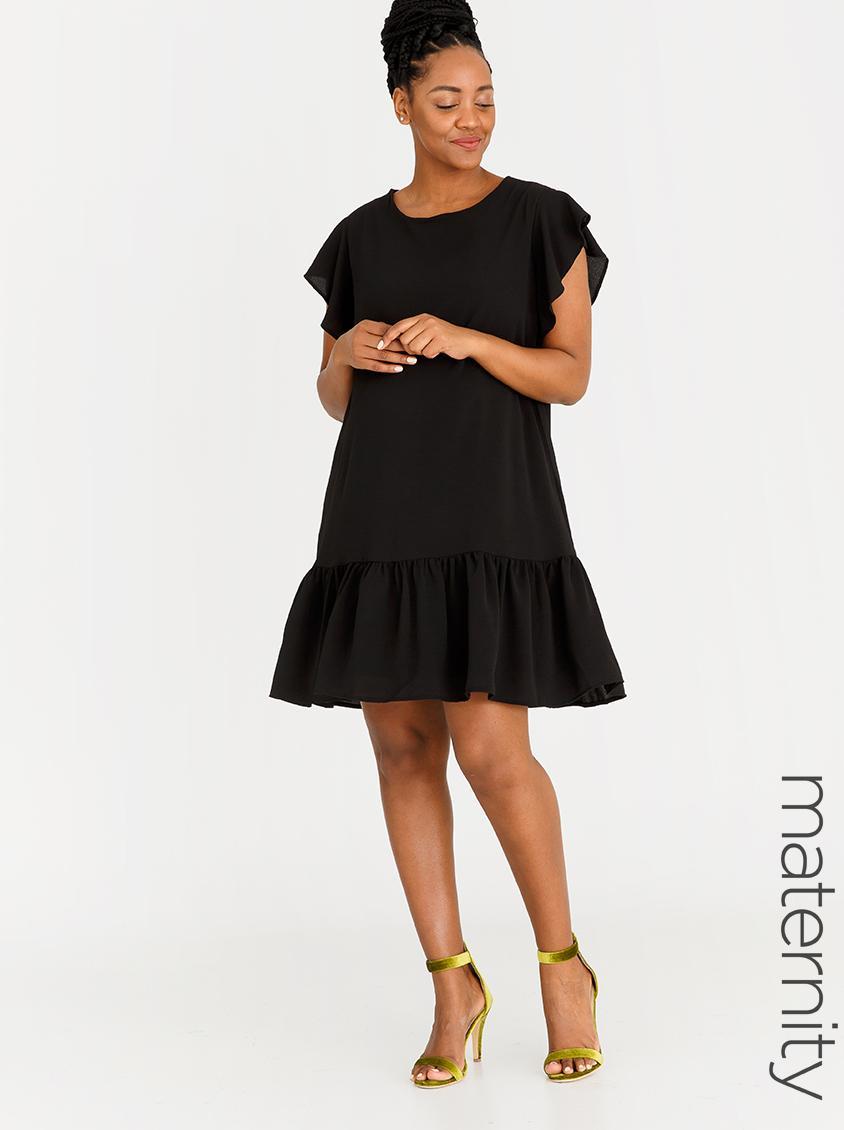 ce3e13263bab7 Chiffon Flutter Sleeve Dress Black edit Maternity Dresses & Jumpsuits |  Superbalist.com