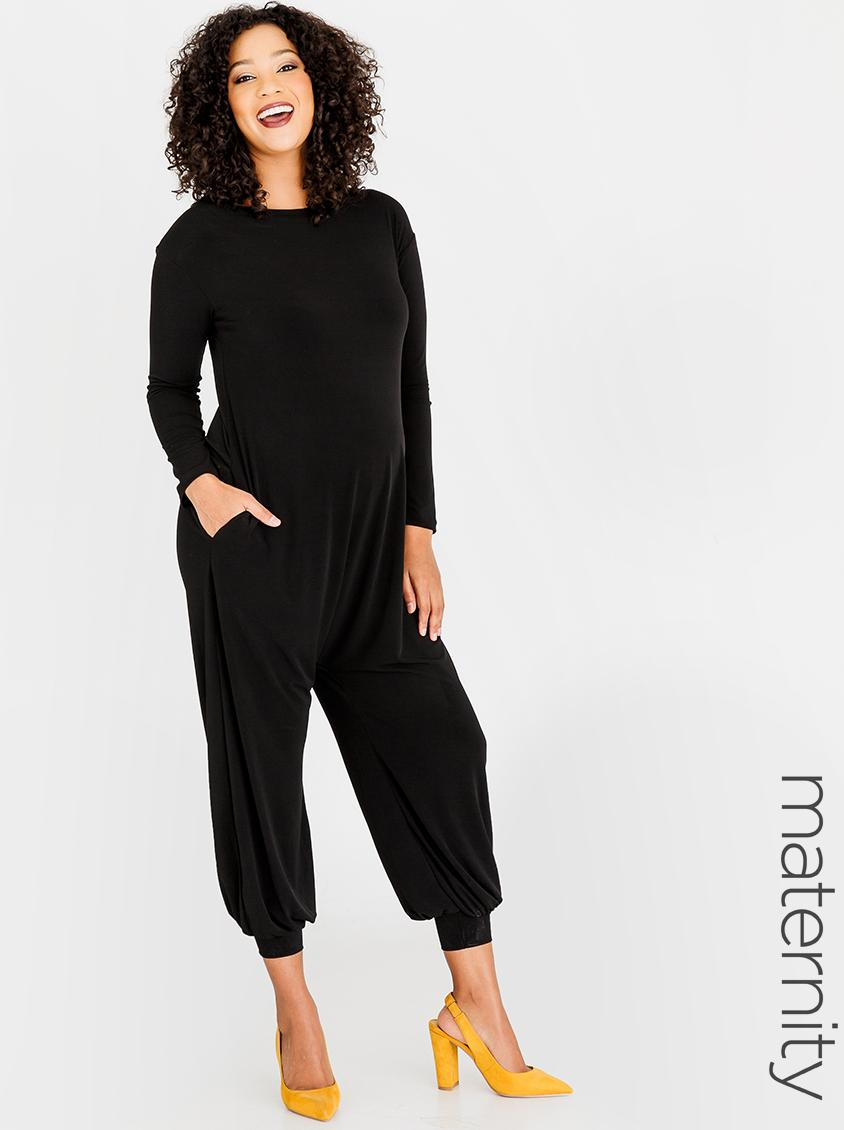 85bccafa62 Harem Jumpsuit Black edit Maternity Dresses   Jumpsuits ...