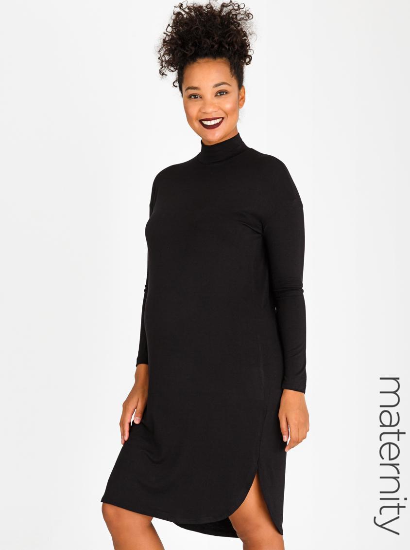 028f9fde0bd2 Turtle Neck T-Shirt Dress Black edit Maternity Dresses & Jumpsuits |  Superbalist.com
