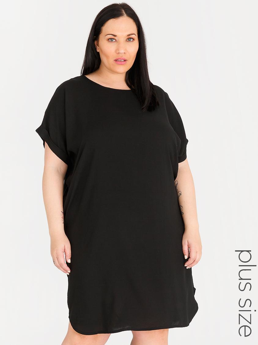 9b5242b0416 Basic Shift Dress Black edit Plus Dresses