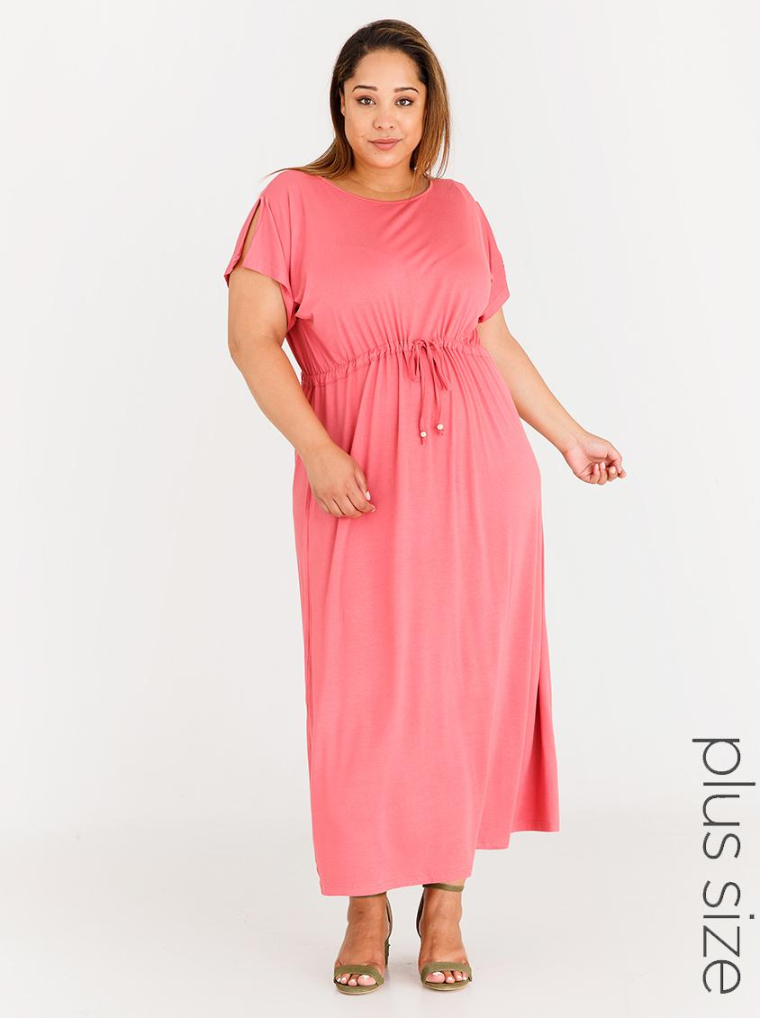 43fba48583f Maxi Dress with Sleeve Slit Mid Pink edit Plus Dresses