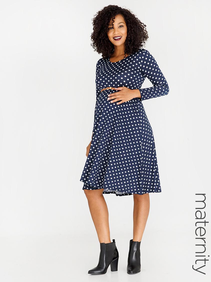 Long Sleeve Dress With Belt Navy Amp White Edit Maternity