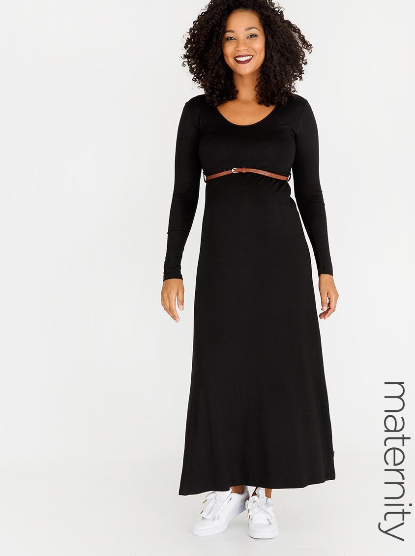 7ca37682975 Basic Belted Longsleeve Maxi Dress Black Cherry Melon Dresses   Jumpsuits